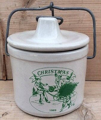 1989 Christmas Cheese Crock with Wire Clamp