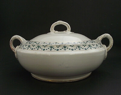 Antique Covered Serving Bowl With Unique Handles And Fancy Banding