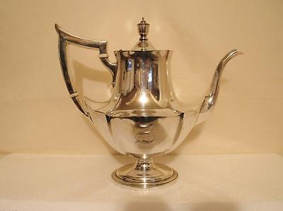 """Gorham Solid Sterling Silver Coffee Tea Pot """"Plymouth"""" Antique 1930s Tall 754 g."""