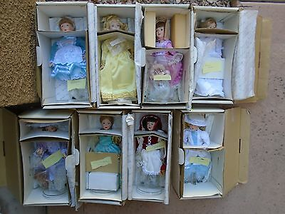 Lot of 8 DANBURY MINT The Storybook Doll Collection IOB Porcelain Shelf Dolls