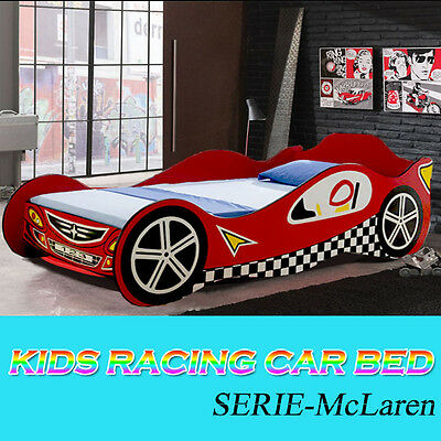 RED Kids Sports Racing Car Bed Children Bedroom Furniture  Bed Single Size
