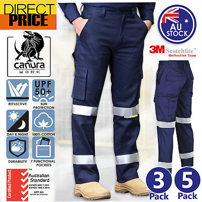 3 5 Packs Mens Cargo Pants Work Pants Cotton Drill Reflective Tape AU Standard