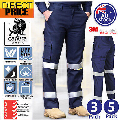3 Pairs Cotton Drill Cargo Pants Work 3M Reflective Tape Tradie AU Standard Navy