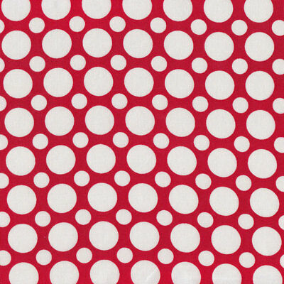 White Circles and Spots on Red Spot on Quilt Fabric FQ or Metre *New*