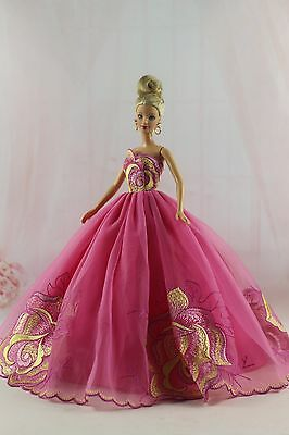 Fashion Royalty Rose embroidery Princess Party  Dress/Gown For Barbie Doll