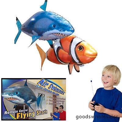 kid Air Swimmer Remote Control RC Flying Inflatable Fish Shark Blimp Balloon TOY