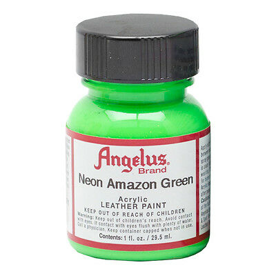 Angelus Neon Fluro Acrylic Paint For Leather Or Synthetics - Super Bright Green