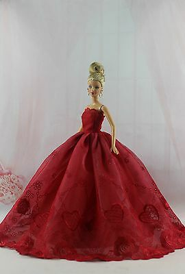 Fashion Royalty Red embroidery Princess Party  Dress/Gown For Barbie Doll