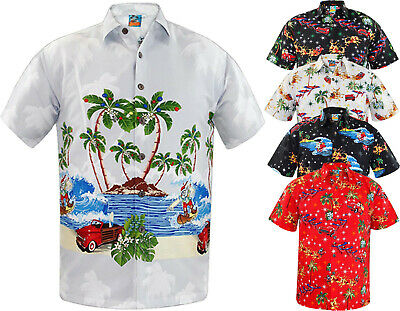 New Mens Hawaiian Shirt Stag Beach Hawaii Party Top Summer Holiday Fancy Dress