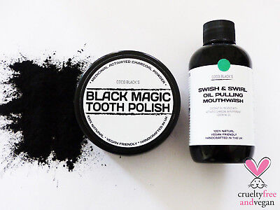 40g ACTIVATED CHARCOAL POWDER TOOTH POLISH + 100m CHARCOAL OIL PULLING MOUTHWASH