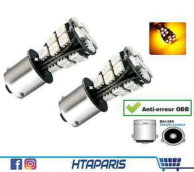 2 Ampoules BAu15s PY21W - CANBUS ANTI ERREUR ODB - CLIGNOTANT ORANGE 21 SMD 12V