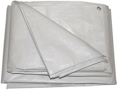 White Market Stall Tarpaulin Cover Boat Car Building Sheet 3.6M x 4.5M