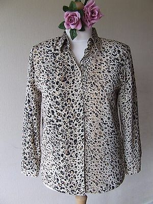 B20 Vintage C&a Sixth Sense Blouse Size 12 Uk Long Sleeve Button Cuff Shoulder