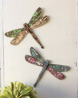 Wooden Dragonfly Wall Art Dragonflies Shabby Cottage Chic Hanging Decor~Set Of 2