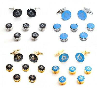 Masonic Lodge Cufflinks & 5 dress shirt studs. silver / Gold G or no G With Case