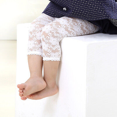 New Born Baby Kids Girls Infants Lace Leggings Cropped Capris Pants Calf-Length