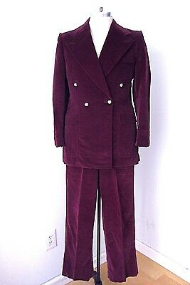 Vtg 70s PURPLE VELVET Dbl Breasted 2-Pc Disco Pimp Superfly Suit Blazer Pants 38
