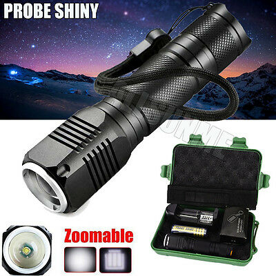 Zoomable 3 Mode CREE XML Q5 LED 18650 Flashlight Torch Camping Lamp Light Set UK
