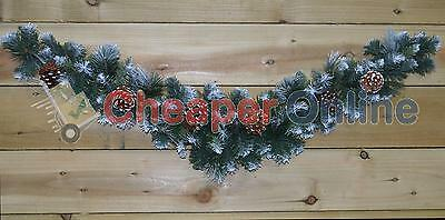 90cm (3ft) Frosted Glacier Christmas Swag with Pine Cones