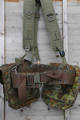 Army Webbing Kit Backpack Shoulder Harness Belt & Two Large Pouches