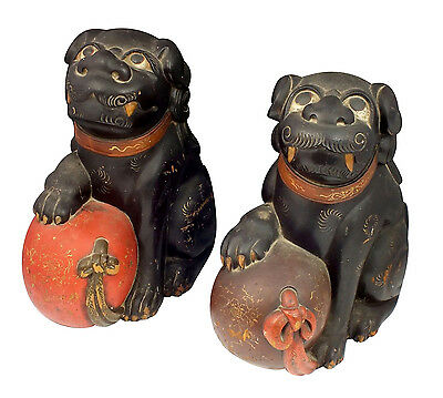 Large Pair of 19thC Antique Chinese Lacquered Wood Foo Dog Statues