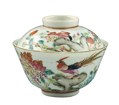 Nice 19thC Antique Chinese Famille Rose Porcelain Covered Rice Bowl