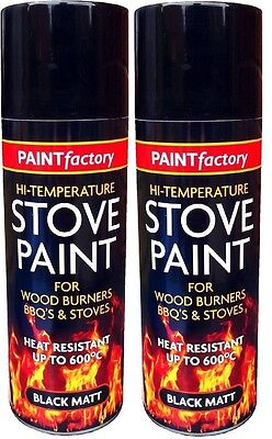 2x High Temperature Spray Heat Resistant Mat Black Paint up to 600 Degrees-200ml