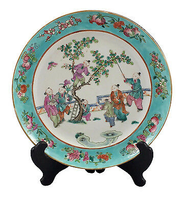 19th Century Chinese Famille Rose Porcelain Plate w/ Enamel Characters