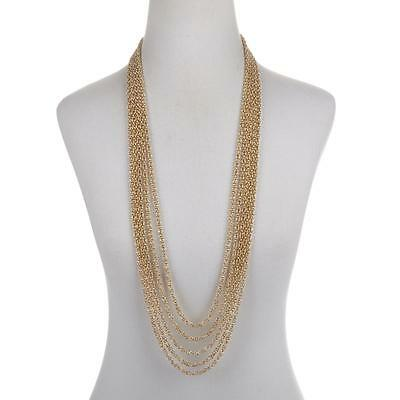 """36"""" Technibond 5 Row Byzantine Chain Necklace 14K Yellow Gold Clad Silver HSN"""