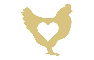 Chicken Style 1 W/ Heart Unfinished MDF Wood Cutout Variety Sizes USA Made Home