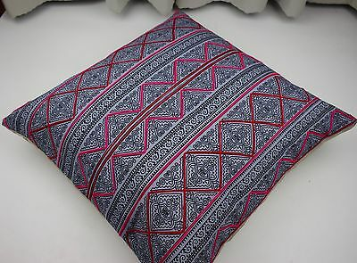 """20""""x20"""" Throw Pillow from Vintage Hmong Fabric, Handmade, Natural Fabric, 51697"""