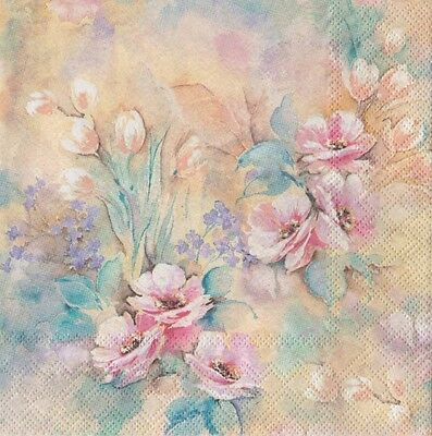 4x Single Table Paper Napkins for decoupage/flowers/roses /0750