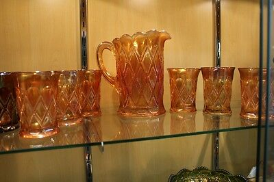 EAPG Millersburg Carnival Marigold Diamonds Pitcher and 6 Tumbler Water Set