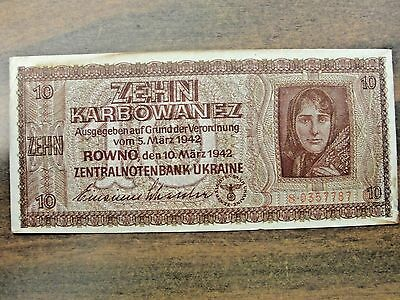 1942 Ukraine German Occupied 10 Zehn Banknote