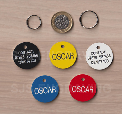 PET TAGS - Dog Cat - ID Disc - Quality Free Engraving - 29mm Plastic - Free Post
