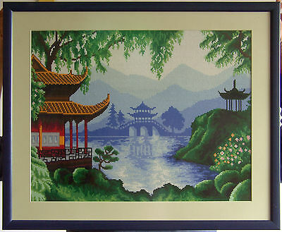 Chinese landscape - Finished completed framed Cross Stitch