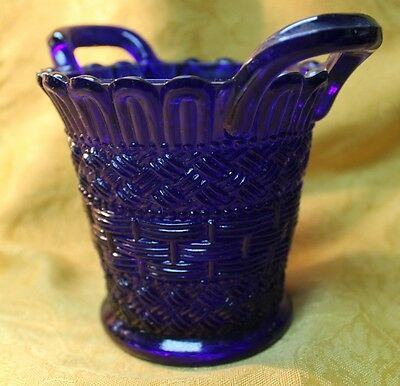 "Beautiful Dugan Blue Cobalt Glass Beaded Basket w Handles 4"" Rare EAPG"