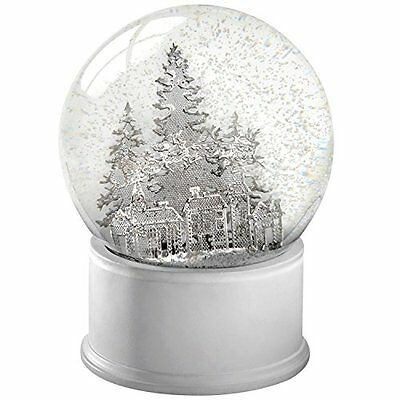 "WeRChristmas ""Snow Globe Santa Sleigh and Christmas Trees"" Decoration, Silver,"