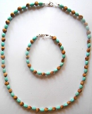 Navajo Turquoise Oval & Ghost Bead set by R. Manygoats  Blessed by Medicine Man