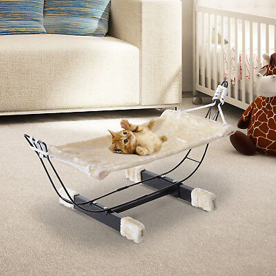 Hanging Cat Hammock Bed Pet Kitty Relaxing Sleeping Soft Cosy Raised Nest Metal