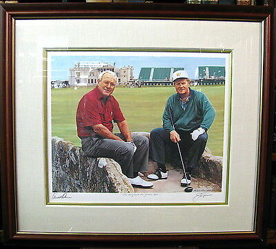 """""""The King And The Golden Bear"""" Litho Signed Arnold Palmer Jack Nicklaus & Artist"""