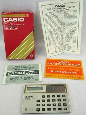 RARE CASIO SL-701G Solar Calculator Paperwork & Box Included Near Mint