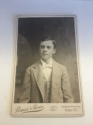 Vintage Antique Cabinet Card Photograph Brusie Boice Studio New York Young Man