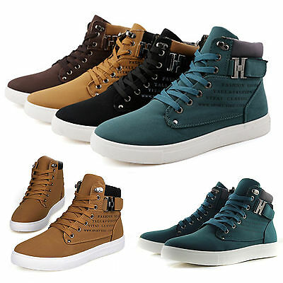 Men Stylish Canvas High Top Ankle Boots Trainers Pumps Shoes Casual Sneakers New