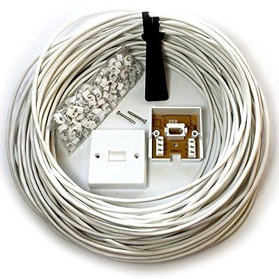 25M BT Telephone Master Socket/Box Line Extension Cable Kit - 10m 15m 20m Lead