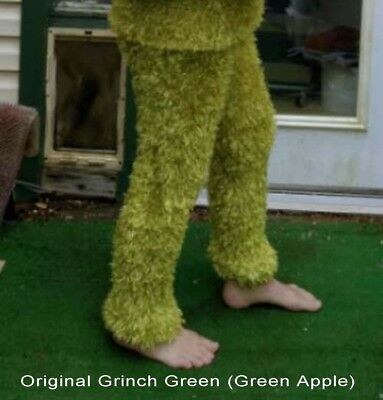 Grinch Green Magic Fuzzy Pants Oscar Grouch Costume Swamp Monster Sage S M L 2XL