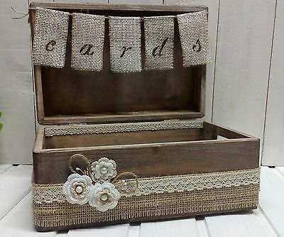 Wedding Rustic Cards Box with Banner Wooden New Handmade Burlap Twine White