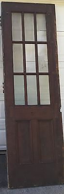 "TALL EXTERIOR ANTIQUE WOOD DOOR 9 PANES GLASS 2 VERTICAL PANELS 99""x31.5""x1 3/4"""