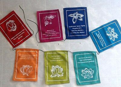 Lotus Prayer Flags/Banner - Positive Affirmations - Large