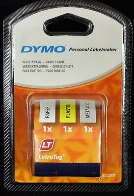 DYMO 12mm LETRATAG Tape label VARIETY Pack TRIPLE New